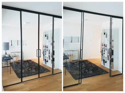 TIlanjakolasiseinä ja -ovet mustalla listalla ja vetimellä. Ovissa on sulkeutumista hidastavat jarrut jolloin, käyttö on turvalliseta ja ovet ei suljettaessa kolise.