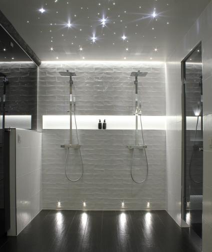 Cariitti Led kristallitähtitaivas JVG Laseja saunan lasiseinä ja -ovet